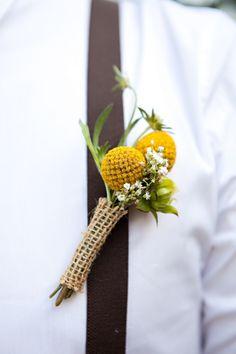 boutonniere with billy balls Yellow Wedding, Floral Wedding, Diy Wedding, Wedding Bouquets, Rustic Wedding, Wedding Flowers, Wedding Ideas, Prom Flowers, Wedding Bells