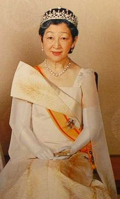 Empress Michiko of Japan wearing the Meiji Scroll Tiara, one of the oldest tiaras currently in the Japanese imperial collection.