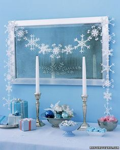 Hung above a mirror, a garland of crocheted snowflakes adds a wintry touch to any room.