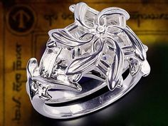 Galadriel Sz 7 Lord Of The Rings HOBBIT Ring Nenya Silver Float Crystal Flower #MiddleEarthJewelry #Ring