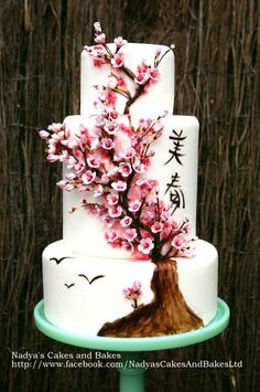 Japanese cherry blossom cake by Nadya's Cakes and Bakes (3/6/2013) View details here: http://cakesdecor.com/cakes/51609