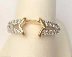 14k Yellow & White Gold Solitaire Enhancer Round Diamond Ring Guard Wrap... #14kt #gold #diamond #bridal #engagement #wedding #ring #fashion #jewelry #jewelryring #diamondring #engagementring #fashionring #lovely #Ringguard #Warp #Enhancer #Ringjacket