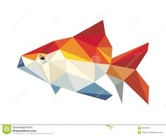 Golden Fish Low Polygon Vector Stock Vector - Image: 60319347