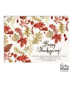 Thanksgiving Dinner Invitation  Festive Autumn Foliage Holiday