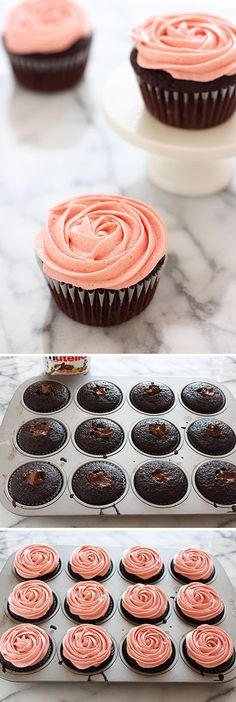 Nutella Stuffed Chocolate Raspberry Cupcakes - these are PERFECT!