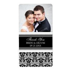 Black White Damask Photo Wedding Labels