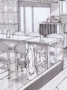 Interiors in Graphite Sketches on Behance/ By Cristine de Felix