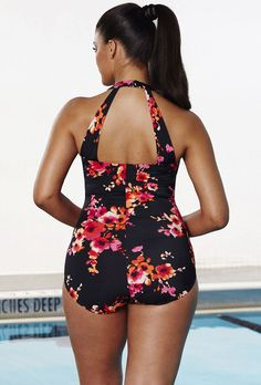 Chlorine Resistant Poppies Sarong Front Swimsuit