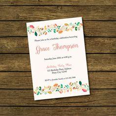 Adult Floral Birthday Invitation  Birthday by BashDesigns15