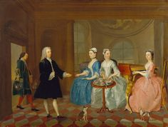 unknown artist, 18th century, British, A Family Being Served with Tea, ca. 1745, Oil on canvas, Yale Center for British Art, Paul Mellon Col...