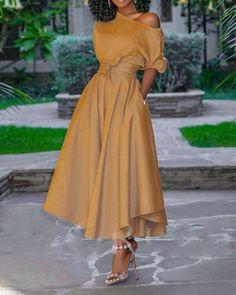 Elegant Maxi Dress, Classy Dress, Half Sleeve Women, Cheap Dresses Online, Plain Dress, Looks Chic, Western Dresses, Dress Brands, Casual Dresses For Women