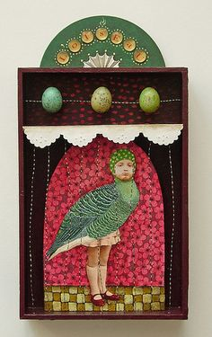 ⌼ Artistic Assemblages ⌼ Mixed Media & Collage Art - l'oiseau - shadow box art assemblage