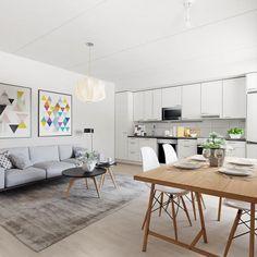 Jyväskyläläisen asumisoikeuskodin keittiö on ihanan avoin ja valoisa. Stailasimme huoneen digitaalisesti helpottamaan sisutuksen ideointia. Kevyttä ja modernia!