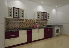 The maroon and off-white kitchen is totally modular in design. The kitchen has all modern facilities including granite top, four hob cooktop, facility for washing machine and lots and lots of storage.