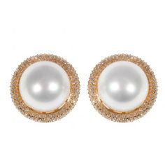 Diamond and South Sea Pearl Pink Gold Earclips