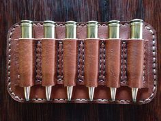 6 round magnum bullet holder made of kudu leather.