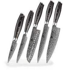 ARE YOU TIRED OF POOR QUALITY KNIVES THAT RUST QUICKLY AND DON'T LAST VERY LONG? HERE IS A SET OF 5 CHEF'S KNIVES OF 67 LAYERS THAT WILL HELP YOU IN YOUR KITCHEN WHEN PREPARING YOUR DISHES. Chef Knife Set, Knife Sets, Knives, Tired, Rust, Layers, Dishes, Kitchen, Layering