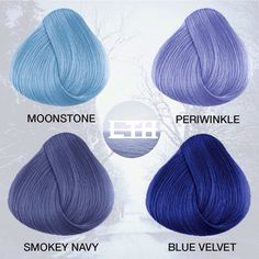 Our icy blues are perfect for winter 💙❄️ Do you prefer pastels or vivids? Icy Blue Hair, Periwinkle Hair, Navy Hair, Hair Color Blue, Hair Dye Colors, Cool Hair Color, Purple Hair, Ombre Hair, Smokey Blue Hair