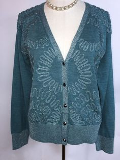 from $19.99 - New Nwt #CalvinKlein Teal Silver Metallic Shimmery Studded Cardigan Sweater L