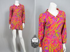 Vintage 60s Psychedelic Print Micro Dress Long by ZeusVintage