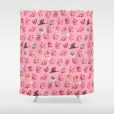 Rosa The Pig Pattern Shower Curtain Cutegiftideas Gift Pig
