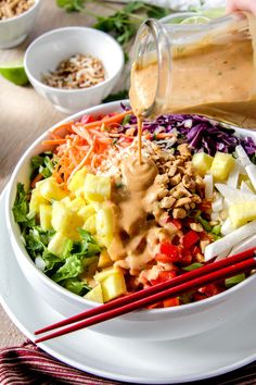 Asian Pineapple Salad with Peanut Coconut Dressing
