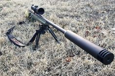 The Harvester, from Silencerco, doesn't make the rocket fast round completely quiet, but it takes some of the bite off. Ruger American Rifle, Weapon Storage, Battle Rifle, Self Defense Weapons, Bolt Action Rifle, Hunting Rifles, Cool Guns, Harvester, Guns And Ammo