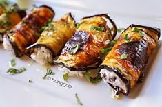 Kitchen Stories: Eggplant Rolls with Feta Cheese Feta Cheese Recipes, Appetizer Recipes, Appetizers, Eggplant Appetizer, Eggplant Rolls, Kitchen Stories, Happy Foods, Healthy Recipes, Healthy Food