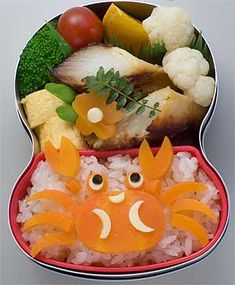 A yummy crab and seafood bento!