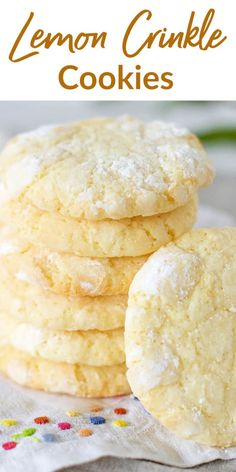 Since Lemon Crinkle Cookies are a crowd-pleaser let me tell you this is the only recipe you'll ever need. Theyre simply sensational! Perfectly tender easy to make and with a fresh lemon flavor. I'm hooked. Lemon Recipes, Sweet Recipes, Baking Recipes, Cookie Recipes, Dessert Recipes, Fruit Recipes, Lemon Ricotta Cookies, Lemon Crinkle Cookies, Lemon Cookies Easy