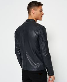 Shop Superdry Mens Leather Quilt Racer Jacket in Black. Buy now with free delivery from the Official Superdry Store. Men's Leather Jacket, Leather Men, Jacket Men, Leather Jackets, Lambskin Leather, Pink Leather, Fashion Moda, Mens Fashion, Emo Dresses