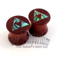 """Abalone TriForce Inlay on Bloodwood Plugs - 0g (8mm) 00g (9mm) (10mm) 7/16"""" (11 mm) 1/2"""" (13 mm) 9/16"""" (14 mm) 5/8 (16 mm) Wooden Ear Gauges on Etsy, $48.00"""