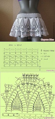 Crochet skirt diagram ganchillo new Ideas Débardeurs Au Crochet, Mode Crochet, Crochet Diagram, Crochet Woman, Crochet Chart, Crochet Stitches, Crochet Bikini, Crochet Summer, Crochet Skirts