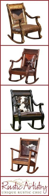 Western and Rustic Style Rocking Chairs Rustic Western Decor, Rustic Cabin Decor, Rustic Style, Country Decor, Rustic Chic, Western Furniture, Rustic Furniture, Antique Furniture, Cowhide Decor