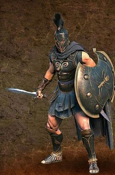 Achilles heel (n.) Origin—from Achilles, ancient Greek hero whose only vulnerable spot on his body was his heel Definition—a weak, vulnerable spot Ex.—Cookie Monster's Achilles heel is cookies. Fantasy Male, Fantasy Armor, Medieval Fantasy, Armadura Ninja, Ancient Armor, Roman Warriors, Greek Warrior, Spartan Warrior, Trojan War