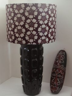 Brown African Print Ankara fabric 30cm Drum Lampshade with dark khaki-coloured buttercup flowers by Ankara Lampshades, £35.00