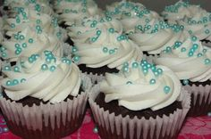purple cupcakes for weddings | chocolate cupcake, white vanilla butter icing, blue sugar pearls