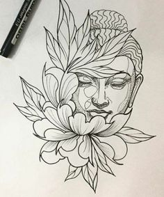 Best tattoo lotus buddha beautiful IdeasYou can find Buddha tattoos and more on our website. Buddha Tattoo Design, Buddha Tattoos, Tattoo Design Drawings, Tattoo Sketches, Lotus Tattoo Design, Tattoo Motive, Arm Tattoo, Sleeve Tattoos, Tiger Thigh Tattoo