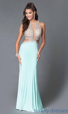 Mock Two Piece Beaded Bodice Dave and Johnny Gown - Brought to you by Avarsha.com