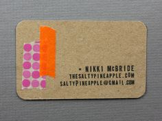cardboard card with two strips of colorful tape. Calligraphy Paper, Stationery Items, Unique Business Cards, Keep It Simple, Washi Tape, Career, Card Making, Typography, Branding