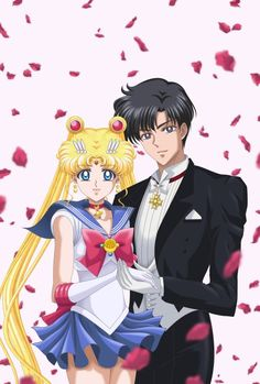 Sailor Moon and Tuxedo Mask with falling rose petals from Sailor Moon Crystal Sailor Moons, Sailor Moon Manga, Sailor Moon Crystal, Arte Sailor Moon, Sailor Pluto, Tuxedo Mask, Sailor Moon Cosplay, Sailor Saturno, Sailor Moon Wallpaper