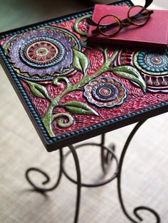 Small Mosaic Table Side Table Floral Mosaic Table by romyandclare