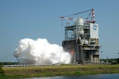 During a 535-second test on August 13, 2015, operators ran the Space Launch System (SLS) RS-25 rocket engine through a series of tests at different power levels to collect engine performance data on the A-1 test stand at NASA's Stennis Space Center near Bay St. Louis, Mississippi.  Credit: NASA