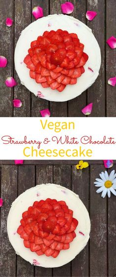 Easy No-Bake Vegan White Chocolate & Coconut Cheesecake Recipe! Delicious Vegan Cheesecake filled with strawberries.