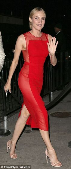 Red hot Diane Kruger: The Helen of Troy star looked striking in her dress for the after party. The shee. Diane Kruger, Helen Of Troy, Joan Smalls, Alexa Chung, Tokyo Fashion, Love Fashion, Fashion Vintage, Petite Fashion, Diane Heidkrüger