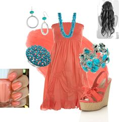 """""""Coral and Turquoise"""" by wcatterton on Polyvore"""