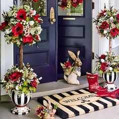 Poppy Topiary: Bold beauty—isn't that just what we need right about now? Our Poppy Topiary is sure to turn heads. With vibrant, graphic blooms and Courtly Check® accents, these fabulous faux florals are no shy violets.