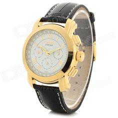 CJIABA Mens Fashion PU Band Analog Mechanical Wrist Watch - Black + Golden + Multi-Color