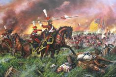 An incident during the Battle of Waterloo: The Red (Dutch) Lancers of the Guard, frustrated by the solid British Squares, use their spears as javelins