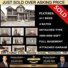 Another house SOLD! Another happy client! 249 Crafter Cres, Stoney Creek, Hamilton,ON. SOLD over asking price! Call Ghulam Brothers  today BECAUSE YOU DESERVE IT!!!  Ghulam Shahid(416)-629-4829   Ghulam Dastgir (416)-880-1884 Attached Garage, Sales Representative, Hamilton, Real Estate, Happy, House, Home, Real Estates, Ser Feliz